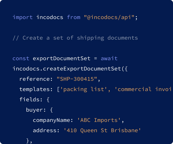 Code snippet for creating a Commercial Invoice and Packing List using the IncoDocs API