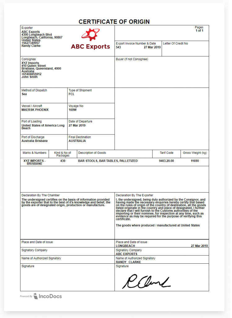 Certificate of Origin document example for global trade