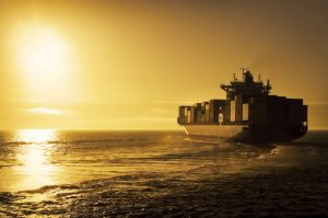 A container vessel that has shipped and a Bill of Lading has been issued.