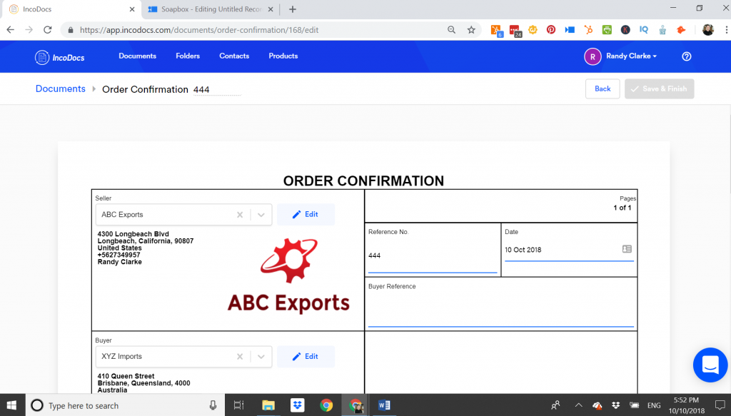 Example of an Order Confirmation Document use for Import Export shipments