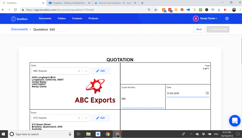 Example of a Quotation Document for Export Import Shipments