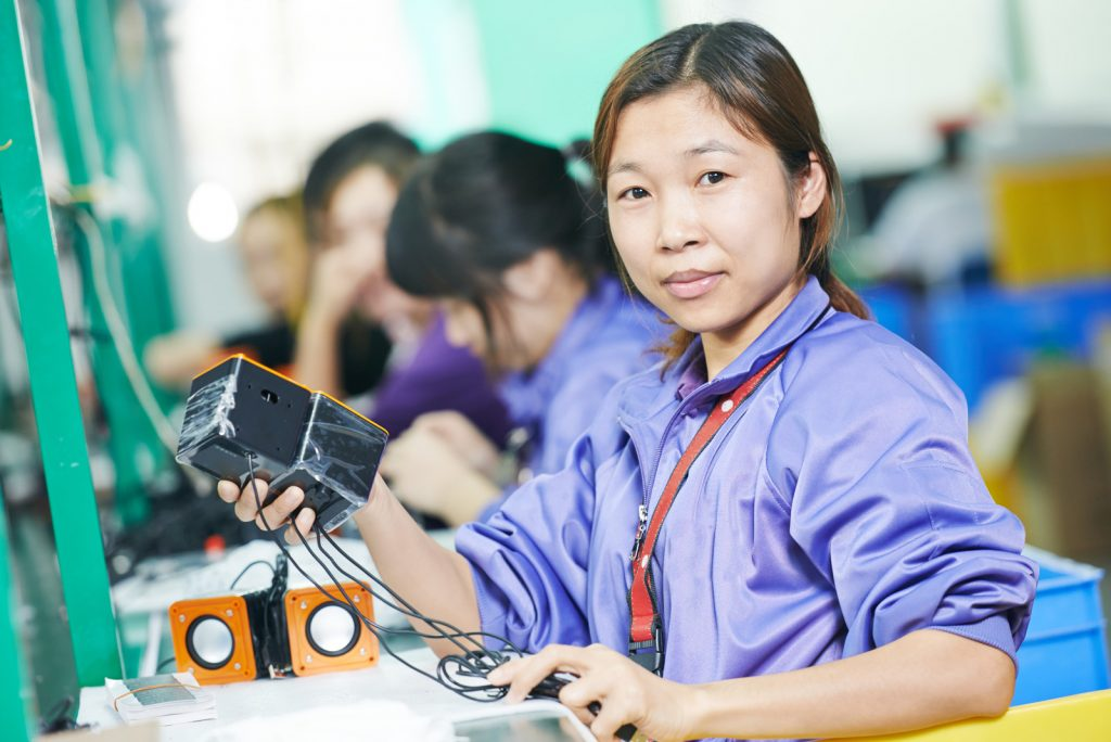 A factory worker in China that was sourced from Alibaba.