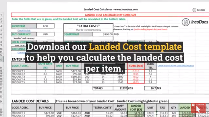 Download Landed Cost calculator template for import export.