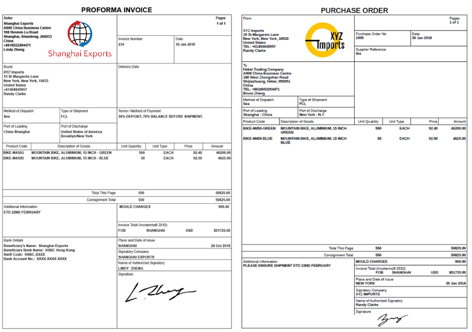 How to create a Proforma Invoice and Purchase Order