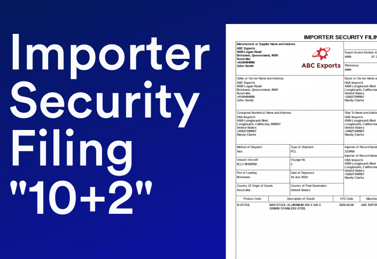 Document for Importer Security Filing ISF