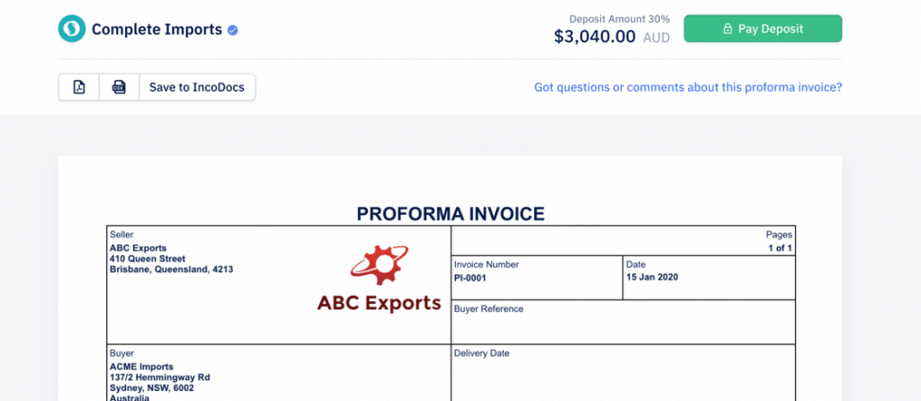 Pay a Proforma Invoice for Export