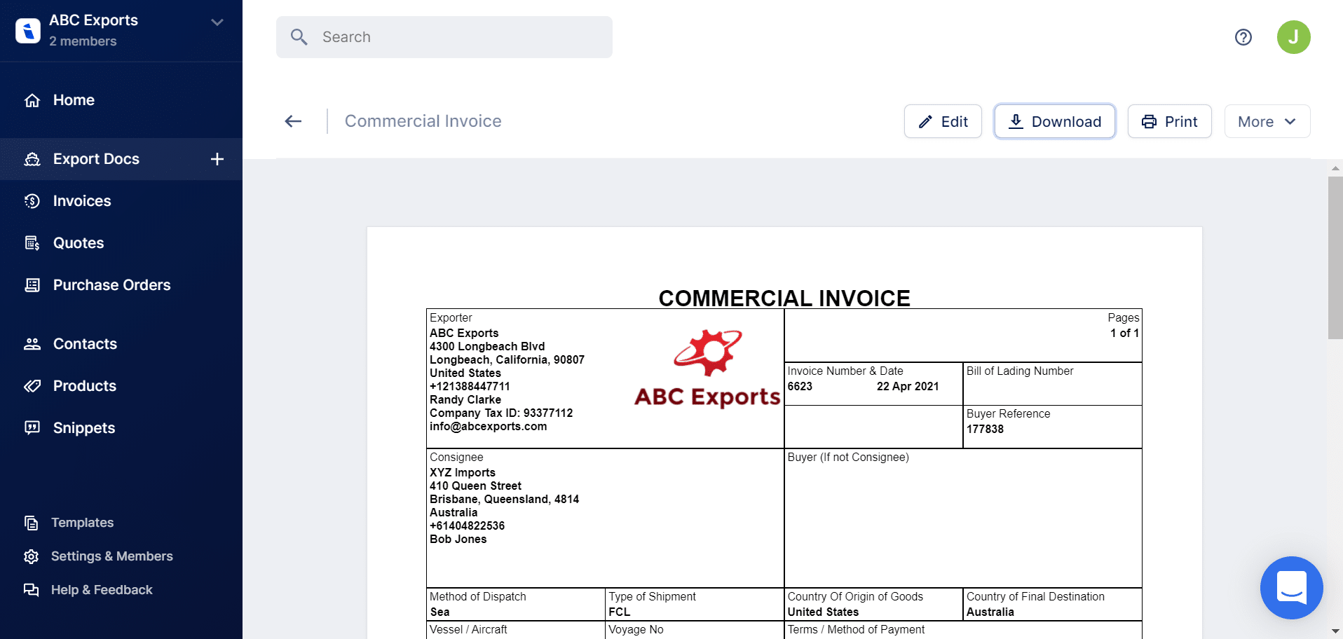 Create Commercial Invoice Document For Import Export Incodocs